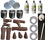 Ethanolkamin Starter Set 22 teile Ethanol Keramikholz Brenngel Sparplatten Kamin