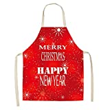 Winter Snowflake Santa Series Apron Kitchen Fun Cooking Apron Barbecue Dustproof Apron Artist Apron...