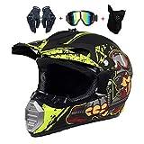 LEENY Motocross-Helme - Full-Face Motorrad-Off-Road-Helm Kinder Crosshelme Set mit...