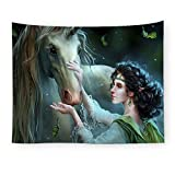 OTIAN Wandteppich Mandala Waldtier Tapisserie Unicorn Decoration Blanket Farmhouse Wohnzimmer...