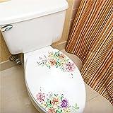 Bunte Blumen 3D Wandaufkleber Schöne Pfingstrose Kühlschrankaufkleber Kleiderschrank Toilette...