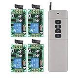 12V 4 Kanäle RF Funkschalter Funkfernbedienung Lichtschalter Empfänger Sender System für Garage...