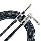 Donner Instrumentenkabel Gitarrenkabel 5M profesionell Lärmschutz mit einseitiger gewinkelter...