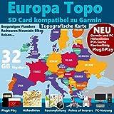 ►Europa Karte 32GB micro-SD-Card Class 10 GPS Topo Karte für Garmin Geräte – Navigation...