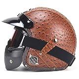 Offener Motorradhelm mit Schutzbrille und Abnehmbarer Maske Jet Scooter Helm ECE-Zertifizierung 3/4...