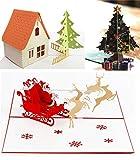 Weihnachtskarten Set Weihnachtsmann Schlitten 3D Pop Up Grußkarte mit Umschlag Neujahr...