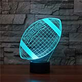 3D American Rugby Football Illusions Lampen Tolle 7 Farbwechsel Acryl berühren Tabelle...
