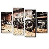 7777777 Kunst-Malerei Leinwand-Malerei Wand lgemlde 4 Stck Motorrad-Kombination Malerei-Foto-Rahmen