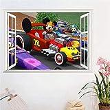 TJJS Wandtattoos Kinderzimmer Cartoon Höhenmessung Kinderzimmer 3D Windows Auto Wandkunst Aufkleber...