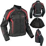 A-Pro Motorrad Textil Damenjacke Wasserdichte Atmungsaktivem Mesh Rot 2X