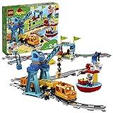 """LEGO 10875 DUPLO Güterzug, """"Push & Go""""-Lok mit Lichtern und Geräuschen, Funktionssteine und 2..."""