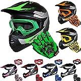 Leopard LEO-X19 Kinder Motocross MX Helm { Motorradhelm + Handschuhe + Brille} Grn M (51-52cm) ECE...