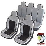 ATKKD5 - Qualität, Auto Sitzbezug Set, Schonbezug,11 Teilig Grau, Schwarz
