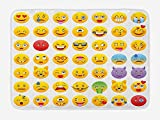 LINFENG Emoji Badematte, Cartoon wie Smiley Gesichter von Mosters glücklich traurig wütend wütend...