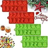 AFASOES 4 Stück Weihnachten Pralinenform Silikon Eiswürfelformen Silikonform Weihnachten...