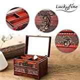 Luckyfine Schmuckkästchen, Kleine Vintage Schmuckschatulle Aufbewahrungsbox aus Holz, Make-up-Box...