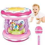 Volbaby Baby Musical Drum Toy mit Lichtern & Musik, Baby Musical Player mit Mikrofon, Karussell Baby...