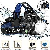 LMOOFG LED Stirnlampe, USB Rechargeabl Fahrrad-Scheinwerfer, Heller LED-Scheinwerfer Taschenlampe...