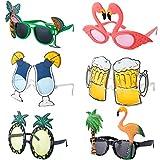 Czemo 6 Paar Party Sonnenbrillen Hawaiian Tropical Brillen Flamingo Ananas Sonnenbrille Lustige...