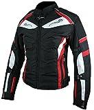 HEYBERRY Damen Motorrad Jacke Motorradjacke Textil Schwarz Rot Gr. M / 38