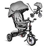 besrey Dreirad 7-in-1 Kinder Fahrrad mit 360° Drehsitz + Luftkammerrad + Liegefunktion ab 9 Monate...