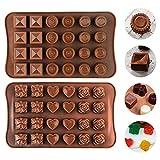 2 PCS Silikon Schokolade Formen, 48 Mini Hohlraum Pralinenform Silikonformen, Backform für...