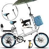 Axdwfd Kinderfahrräder 20 Zoll Fahrrad, Mutter und Kind Tandem Folding Shifting Disc Bremszaun...