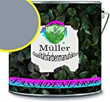 Fassadenfarbe mit Lotuseffekt hochwertige Silikonharzfarbe Sockelfarbe RAL 7001 Silbergrau //...