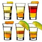 SZMMG 6er Schnapsgläser Shotgläser Set Glas 4cl, Pinnchen Gläser für Whisky, Tequila, Wodka und...