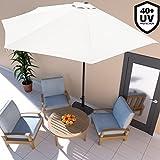 Deuba Sonnenschirm  2,7m mit Kurbel halbrund UV-Schutz 40+ wasserabweisend I Creme- Terrassen...