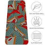Extra Dicke Yogamatte mit roten Flossen und Schwanz-Muster, umweltfreundlich, rutschfest, fr alle...