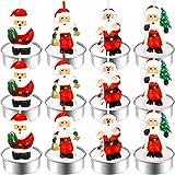 12 Stücke Weihnachten Teelicht Kerzen Handgemachte Zarte Weihnachtsmann Kerzen für Weihnachten...