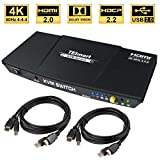 TESmart 2fach HDMI KVM Switch – 4K Ultra HD mit 3840 x 2160 bei 60 Hz 4:4:4;2 Stck 5ft/1,5m...