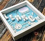 Geschenk für Baby Geburt Taufe Geburtstafel - 3D Bilderrahmen Personalisiert - Geschenkidee...