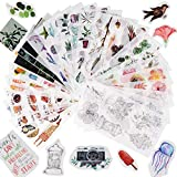 FLOFIA 30 Blatt Sticker Scrapbooking Pflanzen Aufkleber Blumen Sticker Essen Scrapbook Aufkleber...