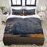 Bettwäsche-Set Mikrofaser,Natur, majestätische schwere Sturm-Regen-Wolke über Wasser bei...