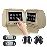9'' FHD Auto-Kopfstützen-Player, Touchscreen-DVD-Player mit FM/IR/USB/SD/Wireless...