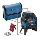 Bosch Professional Kreuzlinienlaser GCL 2-15 (roter Laser, Innenbereich, mit Lotpunkten,...