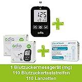 adia Blutzuckermessgerät (mg) + 110 Blutzuckerteststreifen + 110 Lanzetten Maxi-Sparset zur...
