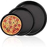 Pizzablech Rund, BESTZY 3er Set Antihaft Pizzabackblech Pizza-Backblech Pizzaform Rund Kuchenblech...