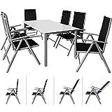 Casaria Sitzgruppe Bern 6+1 Aluminium 7-Fach verstellbare Hochlehner Sthle Milchglas Tisch Silber...