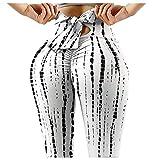 Damen Yogahose mit hoher Taille, Schleifenknoten-Leggings, TIK Tok Leggings, Bauchkontrolle, Booty...