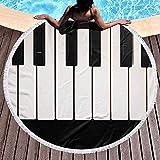 Leo-Shop Rundes Strandtuch 3D Piano Keyboard Große Decke mit Quasten Ultra SoftBeach Throw 59 Zoll