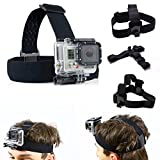 King of Flash Head Mount fr GoPro Hero 4, Session, Hero + LCD, 4, 3+, 3, 2, 1, Head Strap Harness...