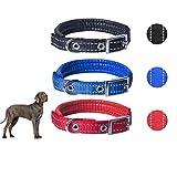 3er Reflektierendes Leuchthalsband Hundehalsband Nylon, verstellbar für Hunde Halsband Hund Katze...