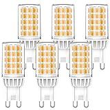 6W G9 LED Lampen Nicht Dimmbar, 2700K Warmweiß, Ersetzt 50W 60W Halogenlampen, 220-240V AC G9 LED...