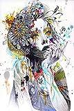 N / A Mädchen mit Blumen abstrakte Leinwand Kunstdruck Mädchen mit Schmetterling Wandplakat Kunst...