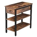 HOOBRO Beistelltisch, Nachttisch mit Schubladen, schmaler Nachtschrank, Sofatisch mit 2 Ablage,...