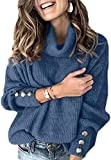 KAMEU Damen Herbst & Winter Pullover Loose Fit Pullover Einfarbig Strickpullover Rollkragenpullover...