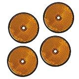 4 Stück Rückstrahler orange rund Anhänger Katzenauge Reflektor LKW Wohnwagen PKW